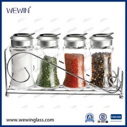 Milieu China Groothandel 5PCS glazen bewaarflessen set met plastic Keukengerei deksel en Iron stand Glaswerk Cruet, Spice Jar & Bottle