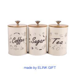 BSCI usine de thé de café de sucre ronde d'alimentation Snack boîtier en métal de l'étain Boîte de rangement avec couvercle en bambou