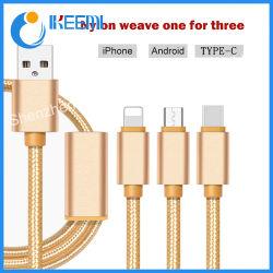 3 en 1 Cable USB de carga Cables de conexión de teléfono celular de nylon