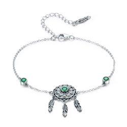 925 Sterling Silver pulseiras para Mulheres Green CZ Vintage jóias de prata