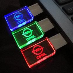 2019glass LED 빛을%s 가진 수정같은 USB 섬광 드라이브 차 로고 4GB 8GB 16GB 32GB USB 2.0 플래시 디스크 지팡이 펜 드라이브