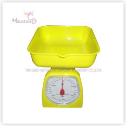 3kg de plástico Venta caliente Báscula de cocina mecánica (12,5*12,5*16cm)