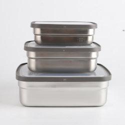 علبة طعام مستطيلة معدنية من الفولاذ المقاوم للصدأ مخصص مجموعة علبة التخزين