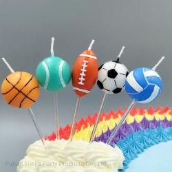 Aniversário bolo velas decoração suprimentos Festa voleibol bola de Rugby bola de basquete Jogo velas Baby chuveiro Kids bolo de pastelaria Topper Hot Sale