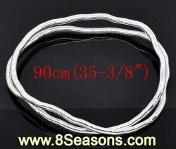 قلادات سلسلة الثعابين المرنة ذات اللون الفضي بسمك 6 مم 90 سم (B11323)