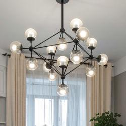 Люстра лампа кухня ресторана стеклянная колба хрустальная люстра золотой акриловой спутник люстру освещение (DW-D10230)
