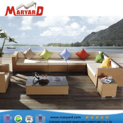 Mobilia esterna del sofà dell'angolo del rattan del terrazzo della corda di svago di vendita del cortile dell'hotel di stile caldo moderno della piscina