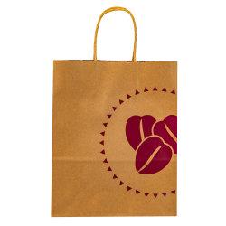 Impresos personalizados de compras bolsa de papel Kraft marrón con asas