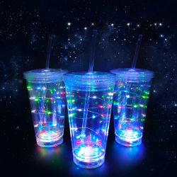 Party Supplies LED Glas Doppel Deck Stroh Deckel Becher