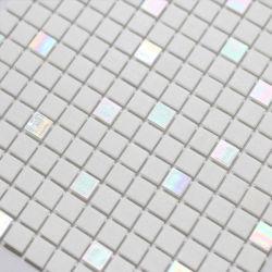 زجاج من الطيف شكل مربع Mosaic لون أبيض حمام سباحة Mosaic ديكور الحمام - Ysfgm16