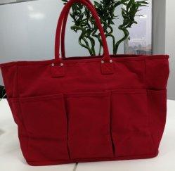 容量の大きい赤キャンバスショッピングバッグ