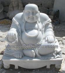 Pierre blanche de format personnalisé Sculpture sur Marbre Laughing Buddha statue pour décoration maison (sy-T143)