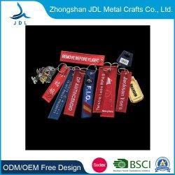 Custom RBF Logo poliéster tejido Metal Leather etiqueta Key Ring Bordado personalizado parche etiqueta etiqueta etiqueta etiqueta etiqueta de tela portacuchillas bordado