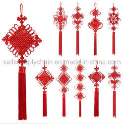 Nodi cinesi della camera da letto della decorazione del poliestere rosso domestico di nuovo anno con i pendenti delle nappe del mestiere