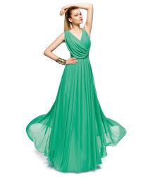 Green robe de soirée encolure en V longue partie de la Prom en mousseline robe de mariée