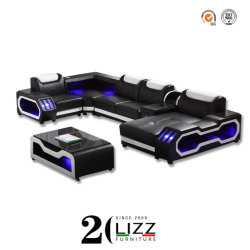 2020新しいデザイン表が付いている現代家具の余暇のホームまたはオフィスまたはホテル贅沢な誘導LEDの居間のChaiseのコーナーのソファー