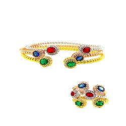 Elipse colorido Rhinestones Brazalete pulseras mujer niñas regalo Festival buena bendición