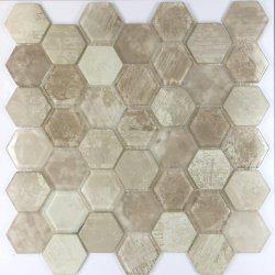Mosaico di vetro delle mattonelle di nuovo di arrivo della Cina di disegno della stanza da bagno esagono moderno di legno della parete per la decorazione domestica
