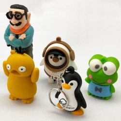 Venda por grosso Hipster personalizado 3D chave PVC empresa titular Travel itens promocionais Chaveiro Personalizado Cartoon Doll Toy Modelo animal Decoração Keyring de Borracha