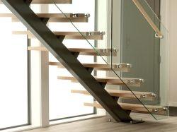 安全で低価格の屋内モノストリンガ / 梁のある直線階段 木材、ステンレススチール