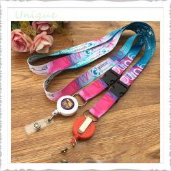 Moda personalizada do molinete do emblema+Buckel +Tecidos de Fita Grosgrain Pescoço corda para telefone celular Cartão Chave Titular dons