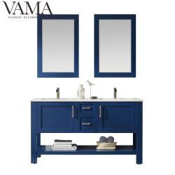 Vama 60インチの純木の床の立場の二重流しのオンラインで青い浴室の虚栄心のキャビネット784060m