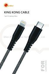 Handyzubehör-Nylonumsponnenes, MFI zugelassenes Kabel des Blitzes 8pin, Palladium 18W Daten USB C zum Blitznetzkabel mit Aluminiumverbinder für iPhone schnell aufladend