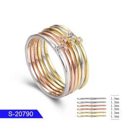 도매 새 모델 형식 소녀를 위해 놓이는 관례에 의하여 개인화되는 보석 은 또는 구리 CZ 삼중주 반지