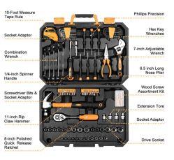 128 Stück-Hilfsmittel-Einstellen-Allgemeiner Haushalts-Handwerkzeug-Installationssatz, Selbstreparatur-Hilfsmittel-Set, mit Plastikwerkzeugkasten-Speicher-Fall