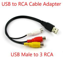 USB 2.0 남성에서 3 RCA 여성 연장 케이블 영상 AV a/V 변환기 접합기