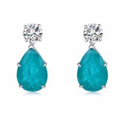 Monili di modo 925 orecchini sterlina di figura della pera dei monili del diamante del nastro