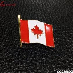A China National personalizada de fábrica no Canadá os pinos de lapela emblema do pavilhão