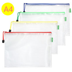 Organizer per libro a penna a penna in carta A4 trasparente con mesh in PVC trasparente Travel Storage Portable zip Office Stationery Supplies Working Student School File Bag documento