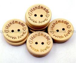O logotipo OEM venda quente ronda de madeira Botão de Fixação