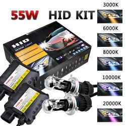 12V 55W HID Kit de lámpara H4 H4 XENON HID Kits de conversión de la bombilla del faro de lastre Xenons Slim +Luz