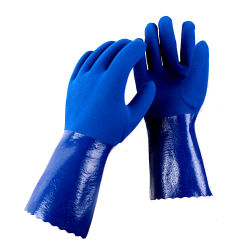 أعمال السلامة الطويلة للغاية الخاصة بالتلفن الأزرق عالي الجودة من PVC قفاز مضاد الأحماض مضاد القلوية