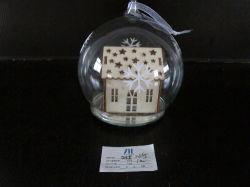 Navidad LED Bola de cristal con decoración interior de la casa de madera
