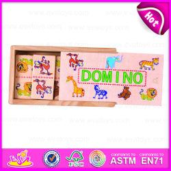 2015 Domino en bois coloré avec du matériel en bois Kids cadeau, Animal jouet en bois Jeu de Domino, Domino en bois bon marché de gros W15A030A