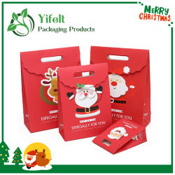 크리스마스 카툰 디자인 컷 W 컷 패치 핸들 홀 소형 종이 선물 가방을 취급합니다