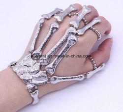 Metallo flessibile dell'osso delle barrette della mano della catena dell'argento del cranio del braccialetto dei braccialetti di scheletro gotici punk all'ingrosso della mano
