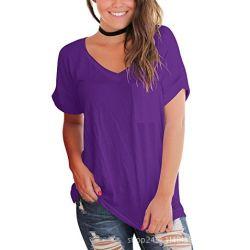 Magliette allentate del poliestere di vendita del V-Collo solido comodo caldo delle donne