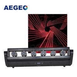 6 맨 위 빨간 녹색 파란 단 하나 레이저 광선 DMX 이동하는 헤드 6 레이저 광