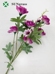 De alta calidad Hot-Selling violeta púrpura Clavel verde siete jefes de las Flores artificiales para bodas Flores sintéticas falsos Festival Fiesta Decoracion Madre Don