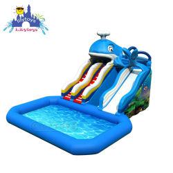 Lilytoysのプールが付いている膨脹可能なイルカの主題水ぬれたスライド