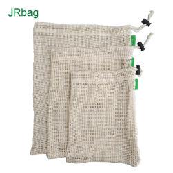 Frutas personalizados baratos Cordón de la bolsa de malla de algodón Bolsa de Productos