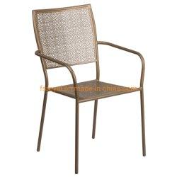 Empilhamento de preço de fábrica metal exterior moderno restaurante do jardim de malha de ferro forjado Cadeira de mobiliário de jantar