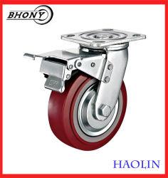 Heavy Duty double roulement à billes Red PU Roulette de roue pour faire du shopping Trolley