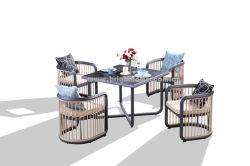 Commerce de gros châssis spécial en métal moderne Jardin Hoteal loisirs ensemble mobilier de salle à manger en plein air en aluminium