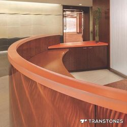 Panneau de résine artificielle translucide Orange comptoir de réception en acrylique
