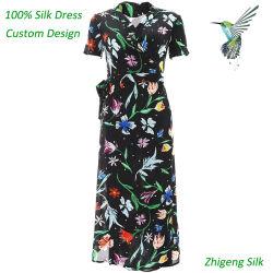 Señora One-Piece 100% seda vestido vestido de seda de diseño personalizado